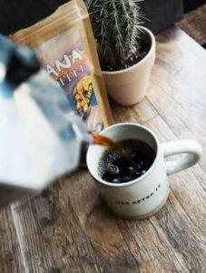 Sapana coffee being poured into a mug