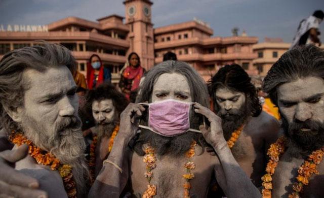 People gather at Khumbu Mela Festival in India, April 2021